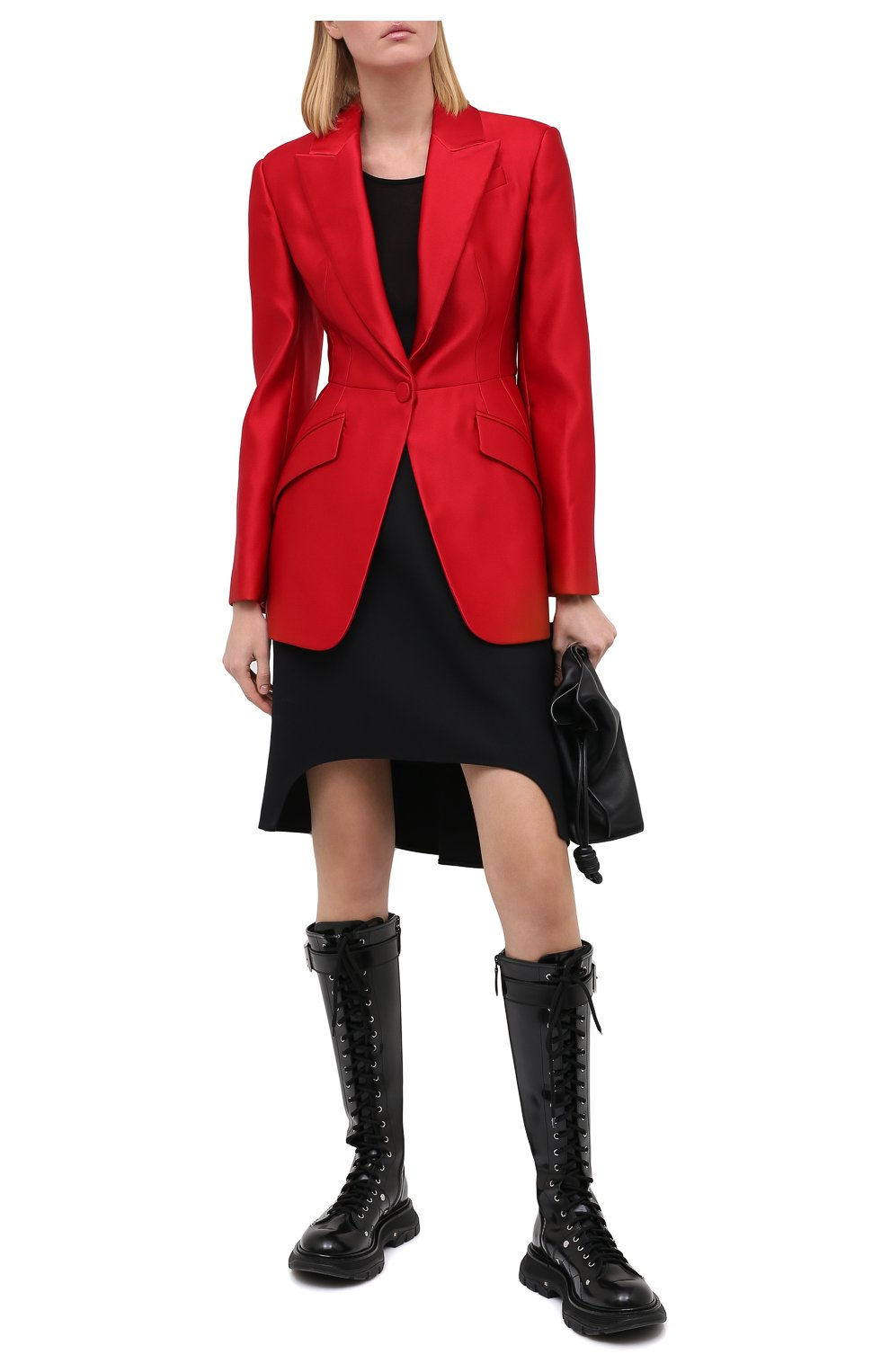 Женская юбка из шерсти и шелка ALEXANDER MCQUEEN черного цвета, арт. 639987/QJAAA | Фото 3