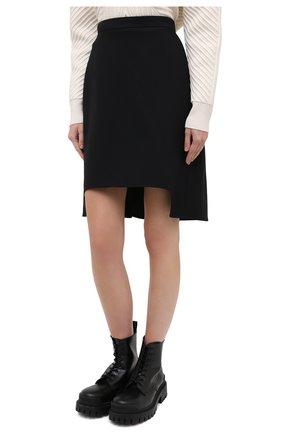 Женская юбка из шерсти и шелка ALEXANDER MCQUEEN черного цвета, арт. 639987/QJAAA | Фото 4