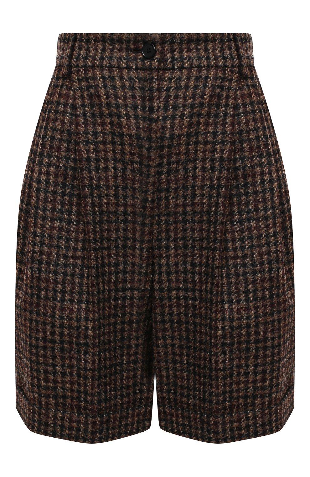 Женские шерстяные шорты DOLCE & GABBANA коричневого цвета, арт. FTBX0T/FQMH3 | Фото 1 (Женское Кросс-КТ: Шорты-одежда; Материал внешний: Шерсть; Длина Ж (юбки, платья, шорты): Мини)