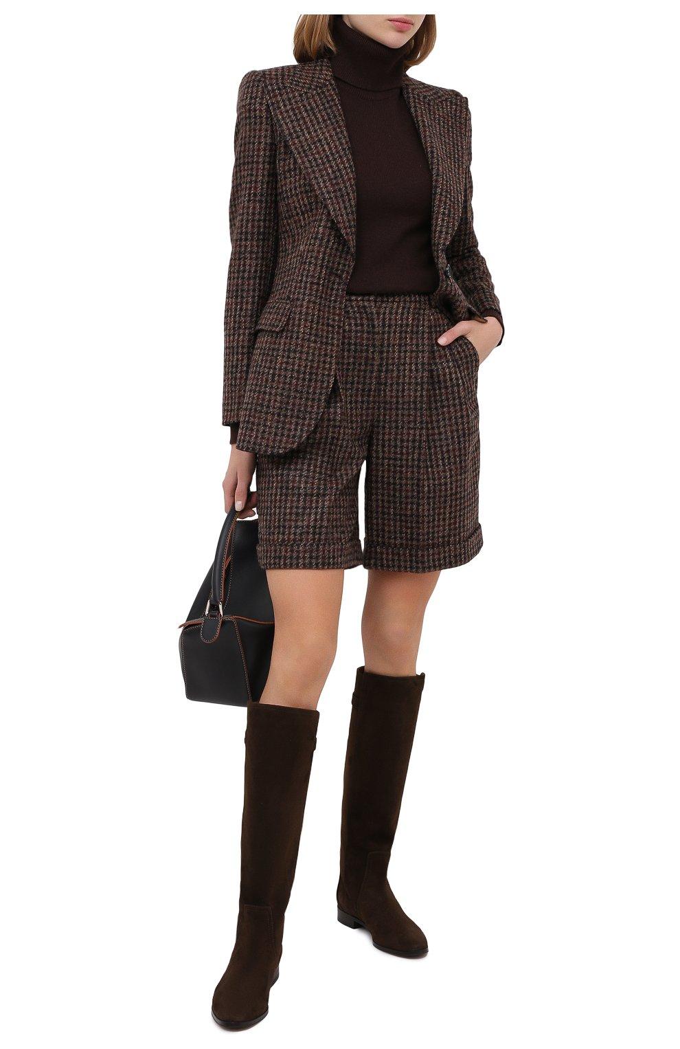 Женские шерстяные шорты DOLCE & GABBANA коричневого цвета, арт. FTBX0T/FQMH3 | Фото 2 (Женское Кросс-КТ: Шорты-одежда; Материал внешний: Шерсть; Длина Ж (юбки, платья, шорты): Мини)