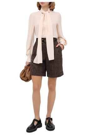 Женские шерстяные шорты DOLCE & GABBANA коричневого цвета, арт. FTBX0T/FQMH3 | Фото 3 (Женское Кросс-КТ: Шорты-одежда; Материал внешний: Шерсть; Длина Ж (юбки, платья, шорты): Мини)