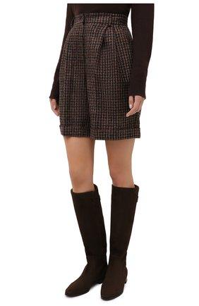 Женские шерстяные шорты DOLCE & GABBANA коричневого цвета, арт. FTBX0T/FQMH3 | Фото 4 (Женское Кросс-КТ: Шорты-одежда; Материал внешний: Шерсть; Длина Ж (юбки, платья, шорты): Мини)