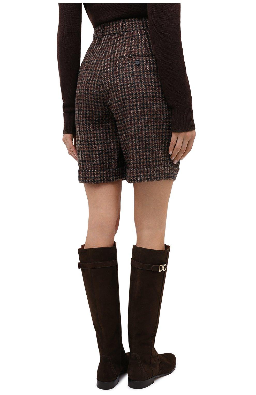 Женские шерстяные шорты DOLCE & GABBANA коричневого цвета, арт. FTBX0T/FQMH3 | Фото 5 (Женское Кросс-КТ: Шорты-одежда; Материал внешний: Шерсть; Длина Ж (юбки, платья, шорты): Мини)