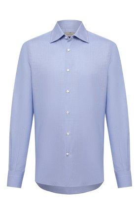 Мужская хлопковая сорочка CANALI синего цвета, арт. XX05/GX02023 | Фото 1 (Рукава: Длинные; Длина (для топов): Стандартные; Случай: Формальный; Материал внешний: Хлопок; Стили: Классический)