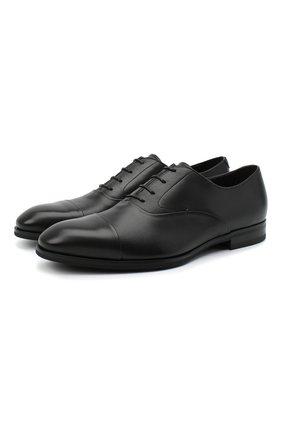 Мужские кожаные дерби CANALI черного цвета, арт. 641226E/RA00466 | Фото 1