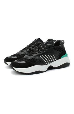 Мужские комбинированные кроссовки d24 DSQUARED2 черного цвета, арт. SNM0096 01502338 | Фото 1