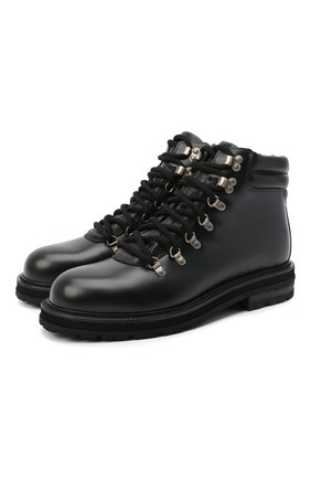 Мужские кожаные ботинки OFF-WHITE черного цвета, арт. 0MIA185E20LEA0021019 | Фото 1