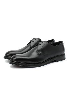 Мужской кожаные дерби DOLCE & GABBANA черного цвета, арт. A10646/AX038 | Фото 1