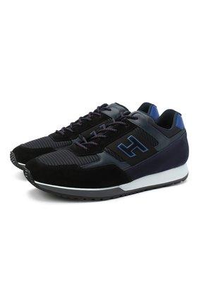 Мужские комбинированные кроссовки HOGAN синего цвета, арт. HXM3210K79009M   Фото 1