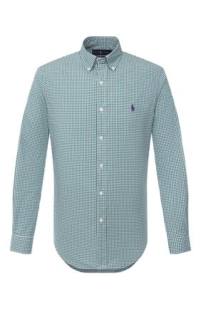 Мужская хлопковая рубашка POLO RALPH LAUREN зеленого цвета, арт. 710804256/2365 D | Фото 1