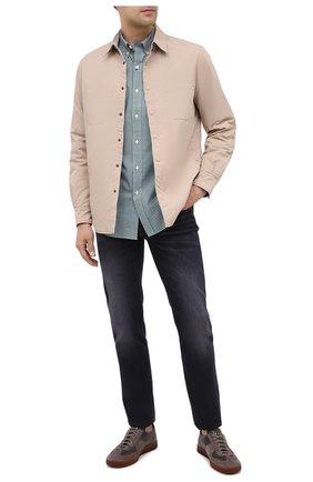 Мужская хлопковая рубашка POLO RALPH LAUREN зеленого цвета, арт. 710804256/2365 D | Фото 2