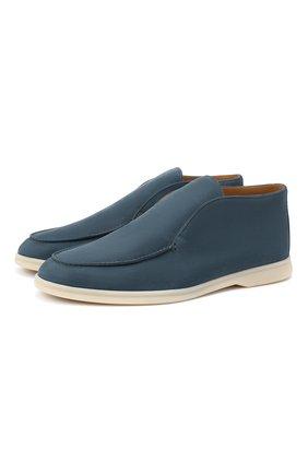 Мужские кожаные ботинки open walk LORO PIANA синего цвета, арт. FAL2888 | Фото 1