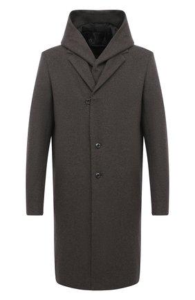 Мужской пальто из шерсти и кашемира KAZUYUKI KUMAGAI темно-серого цвета, арт. AC03-242 | Фото 1