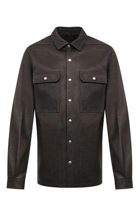 Мужская кожаная рубашка RICK OWENS темно-серого цвета, арт. RU20F3729/LCW | Фото 1