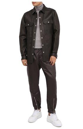 Мужская кожаная рубашка RICK OWENS темно-серого цвета, арт. RU20F3729/LCW | Фото 2