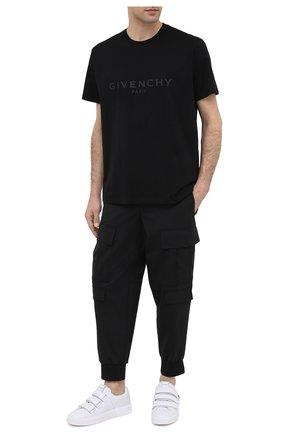 Мужской брюки-карго NEIL BARRETT черного цвета, арт. PBPA743/P026 | Фото 2