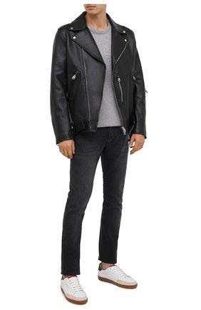 Мужская кожаная куртка ACNE STUDIOS черного цвета, арт. B70075 | Фото 2