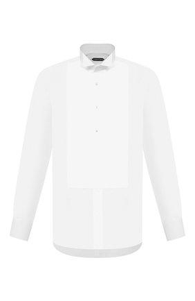 Мужская хлопковая сорочка TOM FORD белого цвета, арт. QFT000/94C8CR | Фото 1