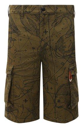 Мужские хлопковые шорты GIVENCHY хаки цвета, арт. BM50ML133A | Фото 1