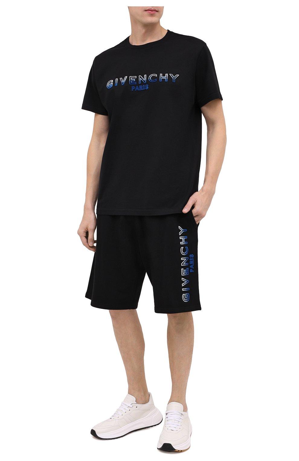 Мужские хлопковые шорты GIVENCHY черного цвета, арт. BM50MT30AF | Фото 2
