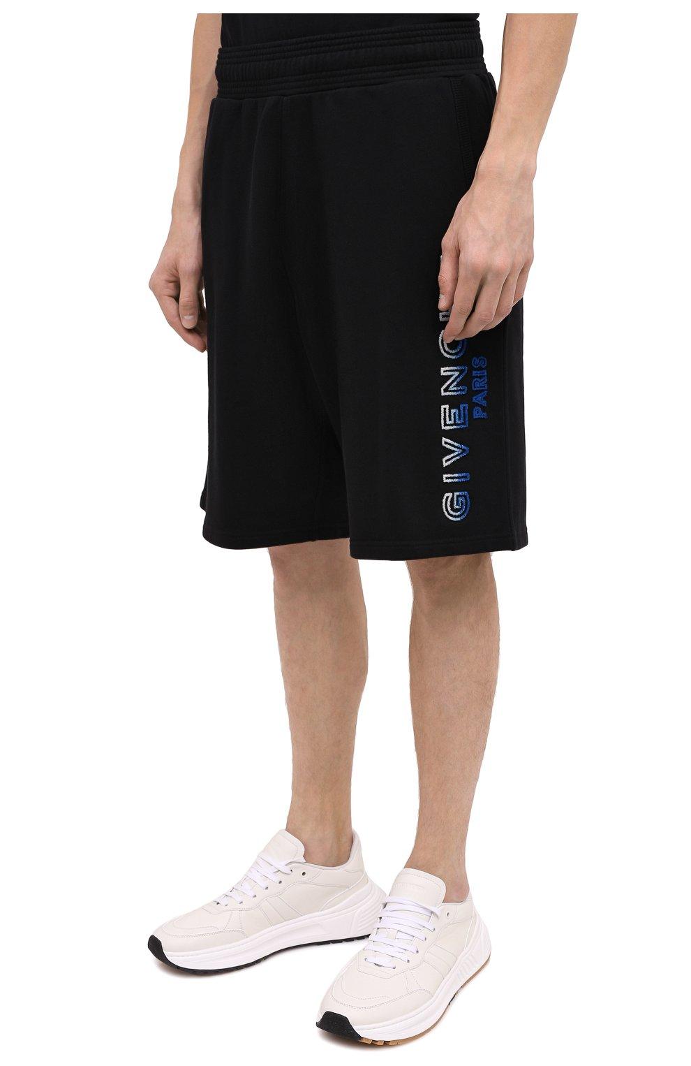 Мужские хлопковые шорты GIVENCHY черного цвета, арт. BM50MT30AF | Фото 4