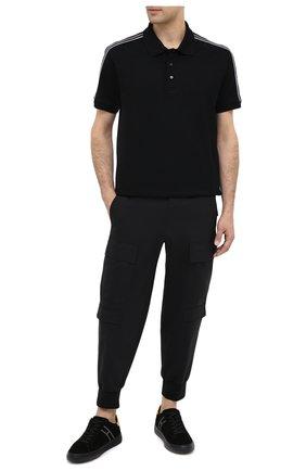 Мужское хлопковое поло  GIVENCHY черного цвета, арт. BM70UA3006 | Фото 2