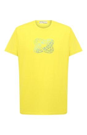 Мужская хлопковая футболка GIVENCHY желтого цвета, арт. BM70Y63002 | Фото 1