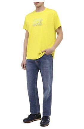 Мужская хлопковая футболка GIVENCHY желтого цвета, арт. BM70Y63002 | Фото 2