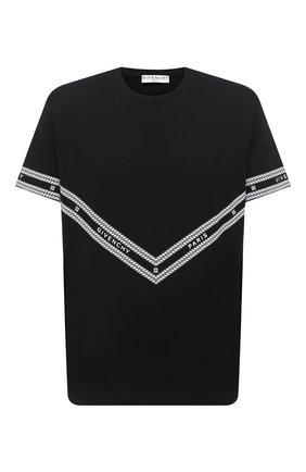 Мужская хлопковая футболка GIVENCHY черного цвета, арт. BM70YS3002 | Фото 1