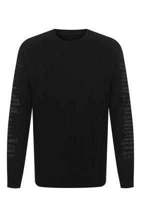 Мужская хлопковый лонгслив RTA черного цвета, арт. MF094-49BLK2 | Фото 1