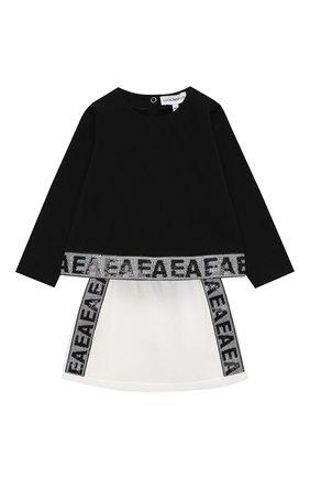 Детский комплект из свитшота и юбки EMPORIO ARMANI черного цвета, арт. 6HEV08/3J3PZ | Фото 1