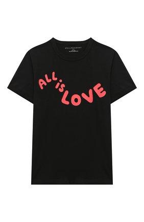 Детская хлопковая футболка STELLA MCCARTNEY черного цвета, арт. 601104/SPJ55 | Фото 1