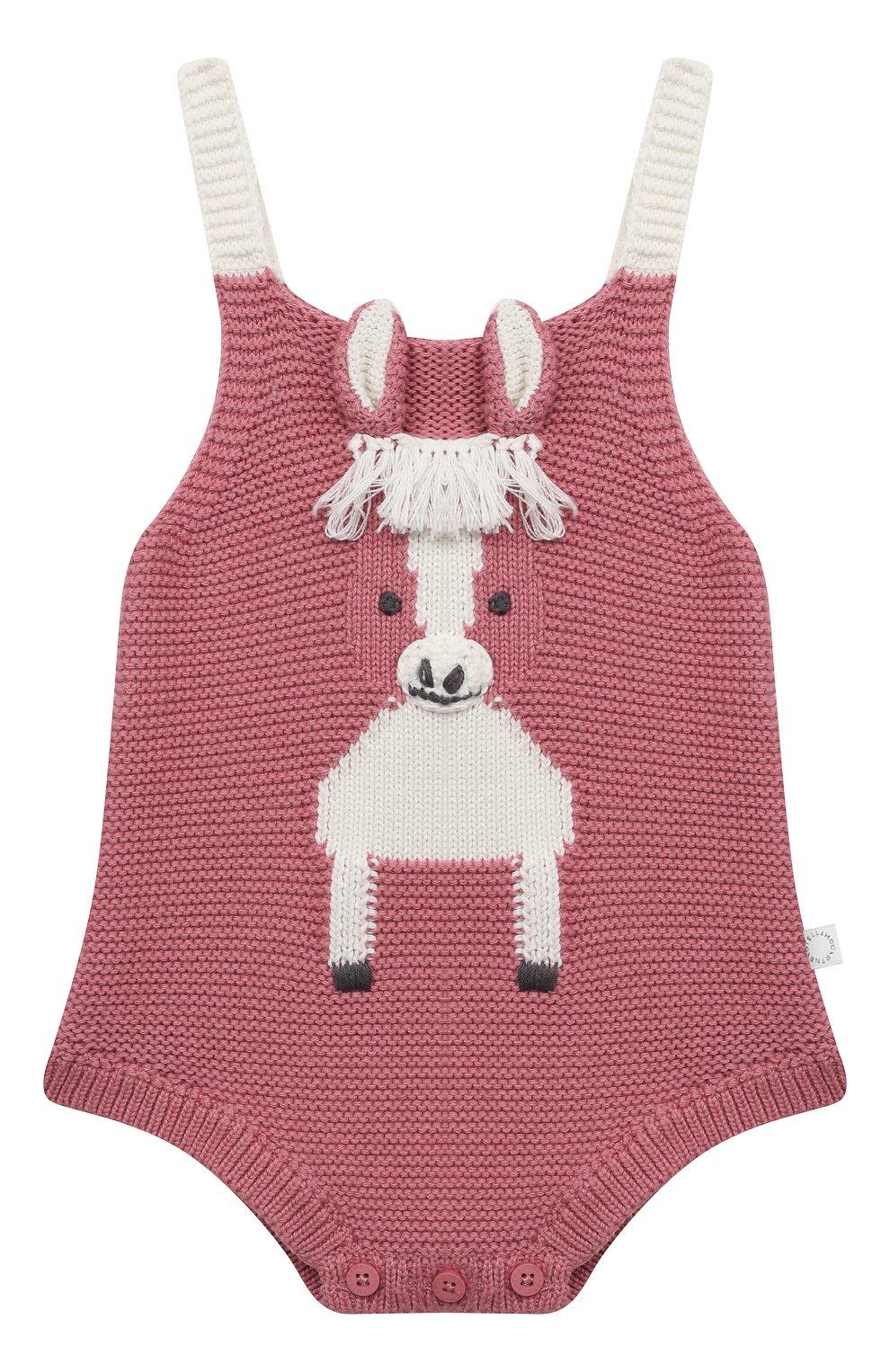 Детское хлопковый боди STELLA MCCARTNEY розового цвета, арт. 601035/SPM15 | Фото 1