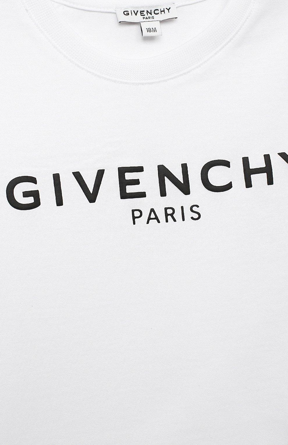 Детский хлопковая футболка GIVENCHY белого цвета, арт. H05J16   Фото 3