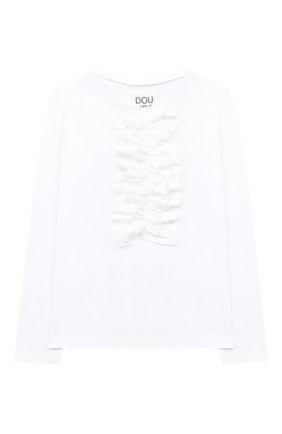 Детская хлопковый лонгслив DOUUOD белого цвета, арт. 20I/U/JR/TE04/1231/4A-8A | Фото 1
