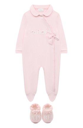 Детский комплект из комбинезона и пинеток LA PERLA розового цвета, арт. 48467 | Фото 1