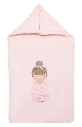 Детский хлопковый конверт LA PERLA розового цвета, арт. 52248 | Фото 1