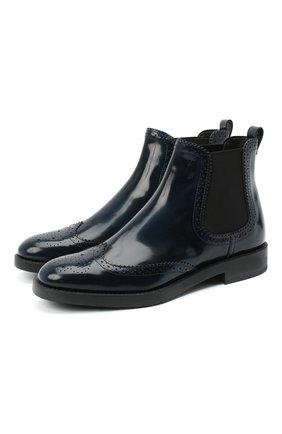 Женские кожаные ботинки TOD'S синего цвета, арт. XXW60C0DE30AKT   Фото 1