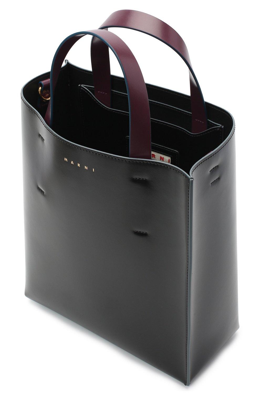Женская сумка-тоут museo MARNI черного цвета, арт. SHMPV01TY0/LV639   Фото 4