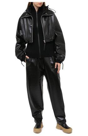 Женские кожаные брюки BOTTEGA VENETA черного цвета, арт. 633867/VKLC0 | Фото 2