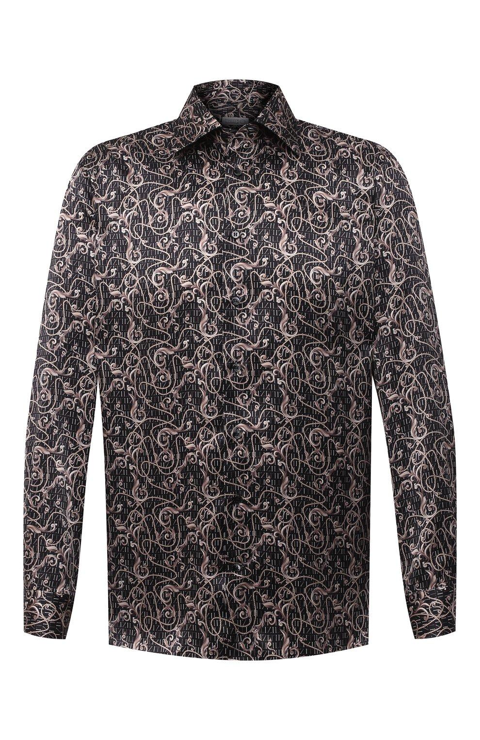 Мужская шелковая рубашка ZILLI коричневого цвета, арт. MFU-27001-1668/0001   Фото 1
