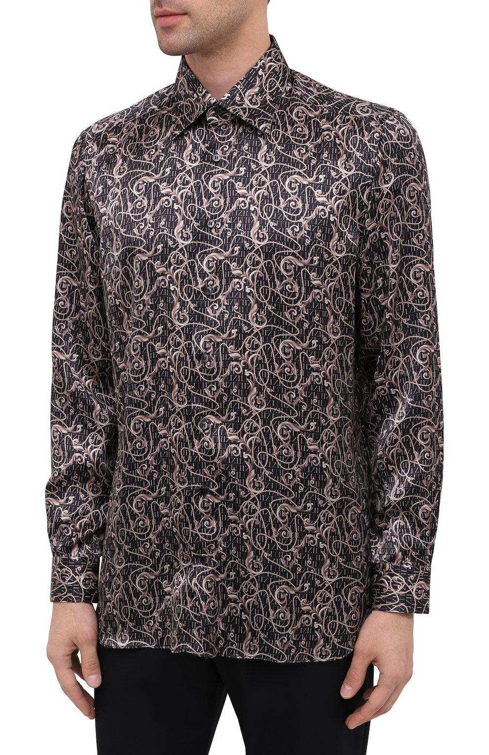 Мужская шелковая рубашка ZILLI коричневого цвета, арт. MFU-27001-1668/0001   Фото 4