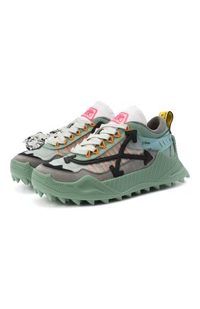Мужские комбинированные кроссовки odsy-1000 OFF-WHITE зеленого цвета, арт. 0MIA139E20FAB0010606 | Фото 1