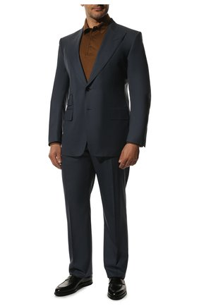 Мужской костюм из шерсти и шелка TOM FORD синего цвета, арт. 816R45/21AL43 | Фото 1