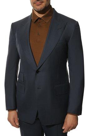 Мужской костюм из шерсти и шелка TOM FORD синего цвета, арт. 816R45/21AL43 | Фото 2