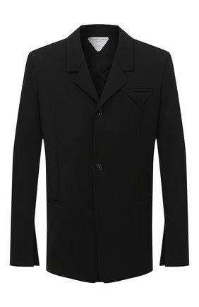Мужской пиджак BOTTEGA VENETA черного цвета, арт. 636451/V02W0 | Фото 1