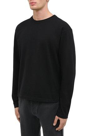 Мужская хлопковый лонгслив BOTTEGA VENETA черного цвета, арт. 639526/VF1U0 | Фото 3