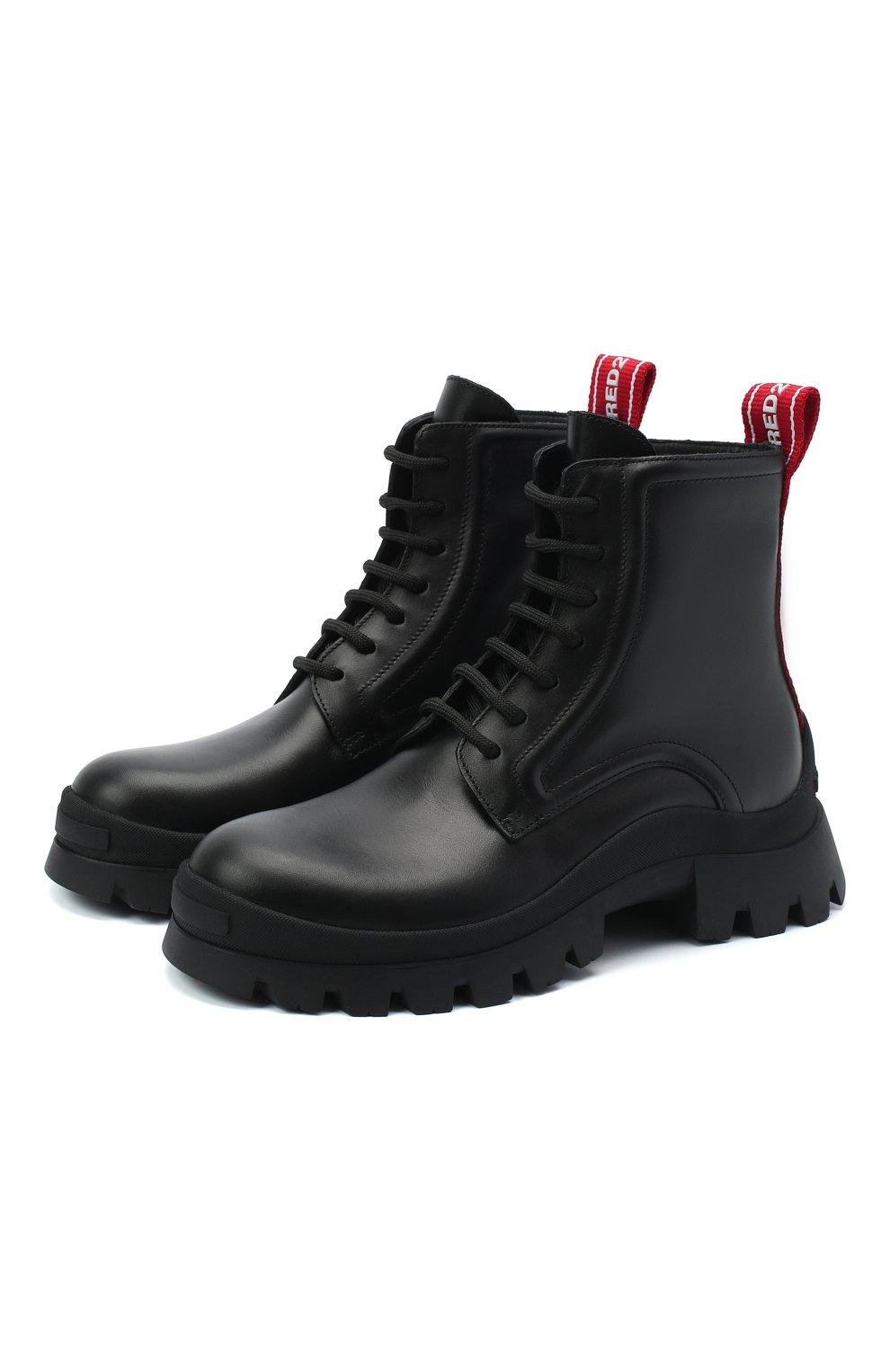 Женские кожаные ботинки DSQUARED2 черного цвета, арт. ABW0110 01501155 | Фото 1