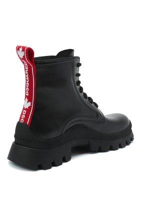 Женские кожаные ботинки DSQUARED2 черного цвета, арт. ABW0110 01501155 | Фото 4