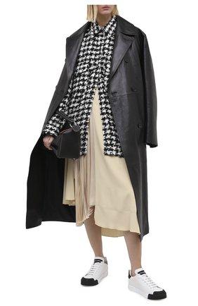 Женские кожаные кеды portofino DOLCE & GABBANA черно-белого цвета, арт. CK1802/AW113 | Фото 2